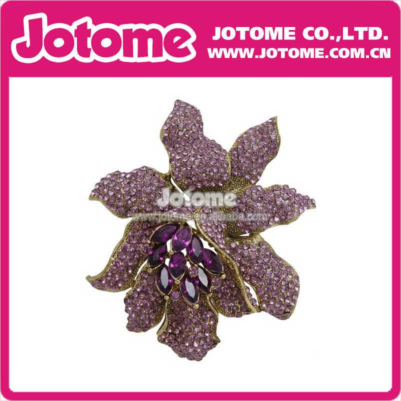 100 шт./лот Классический горный хрусталь большой цветы орхидеи брошь Шпильки женщины ювелирные изделия