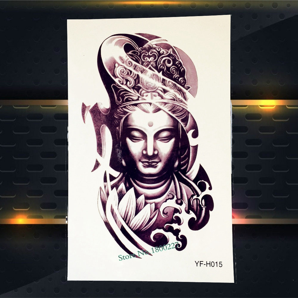 1PC Hot Waterproof Buddha Tattoo Sleeve Men Women Body Arm Art Buddha Lotus Wave Design Temporary Fake Tattoo Stickers PYF-H015