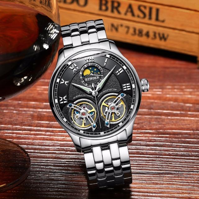 Double Tourbillon Switzerland Mechanical Wristwatch