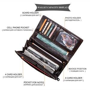 Image 4 - Contacts couro genuíno homem carteiras longas com zíper bolsa de moedas grande capacidade masculino embreagem carteira para iphone passaporte cartera