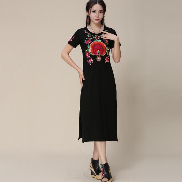 ec786c7675 Vestido étnico 2018 mulher de Meia Idade mãe México estilo hippie étnica  longo preto vestidos vestido