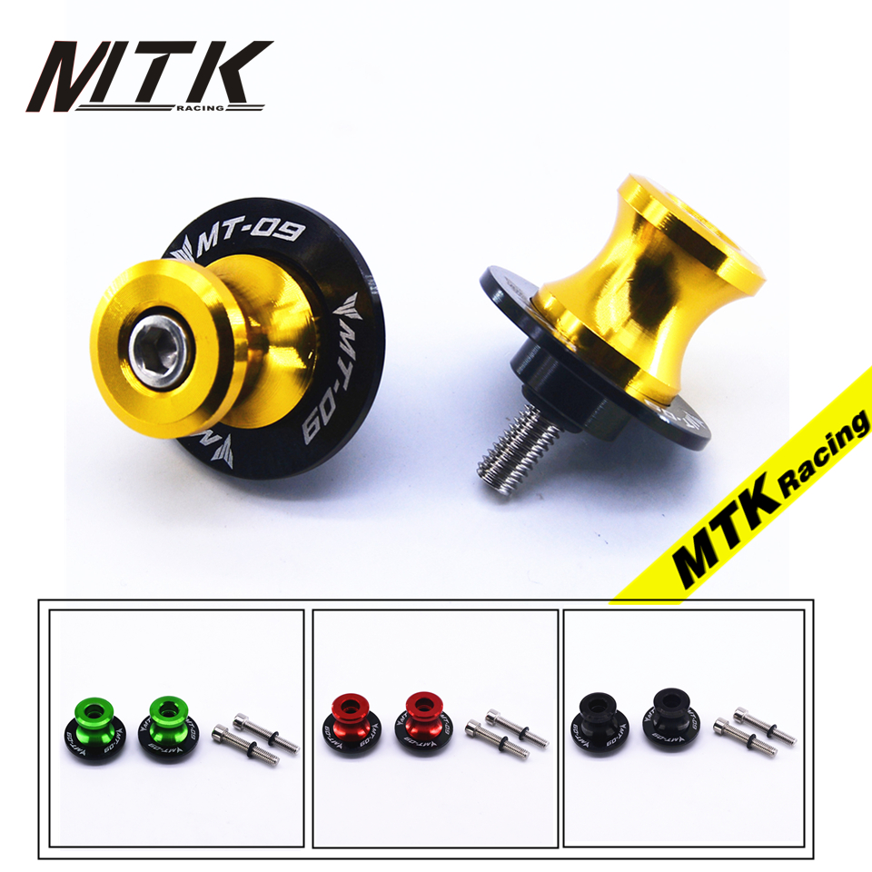 MTKRACING For Yamaha MT-09 MT09 2014 2015 2016 With MT-09 logo Motorcycle M6 Swingarm Spool sliders stand screws 2pcs universal motorcycle stand screws cnc swingarm swing sliders spools m6 m8 m10 for yamaha r3 honda crf 450 suzuki gn250