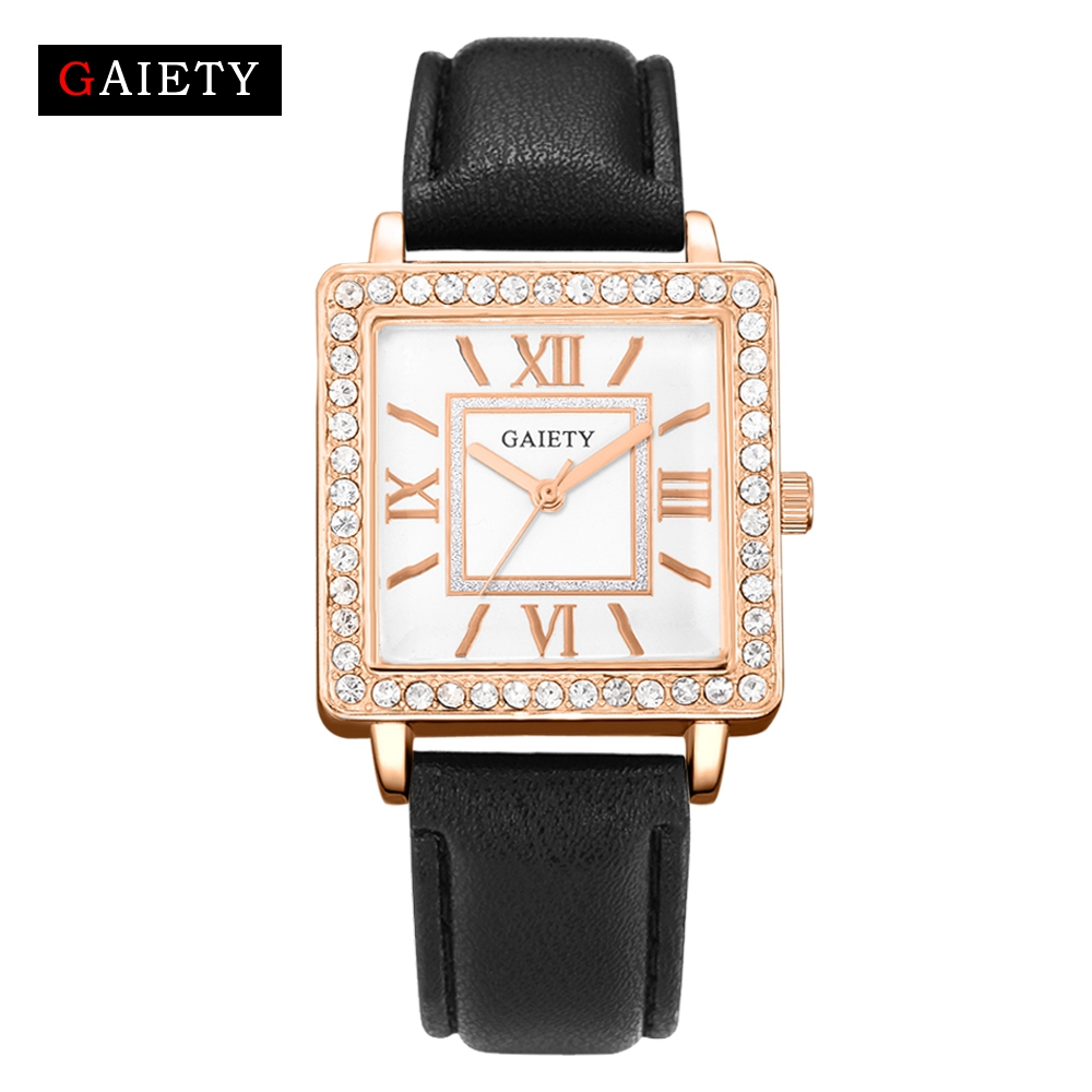 Gaiety Brand Fashion 2017 New Square Crystal Rose Dial Dress Leather Band Watches Luxury Womens Sport Clock Business Wristwatch