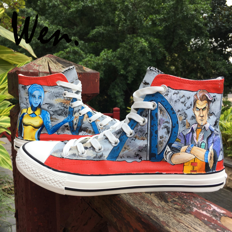 Wen Design First Person Shooting Hand Painted Canvas Shoes Borderlands Customized for Adults High Top Bottom Outdoors SneakersWen Design First Person Shooting Hand Painted Canvas Shoes Borderlands Customized for Adults High Top Bottom Outdoors Sneakers