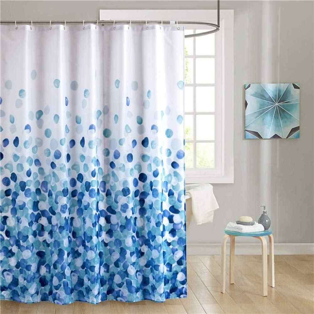 Floral Fabric Bathroom Shower Curtain with Plastic Hooks Waterproof Flower Curtains Blue