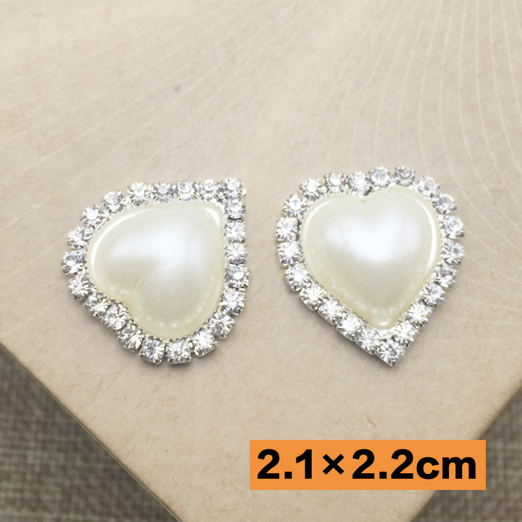 21mm Silver Heart Rhinestone Pearl Crystal Rhinestone Button aritificial  Refinement ribbon party Wedding Decoration Buttons 55a4b845e9a0