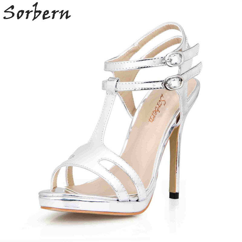 Sorbern Silver Womens Platform Shoes T-Straps Ankle Strap Platform Sandalias Plataforma 2018 Womens Shoes Size 43 Custom Colors
