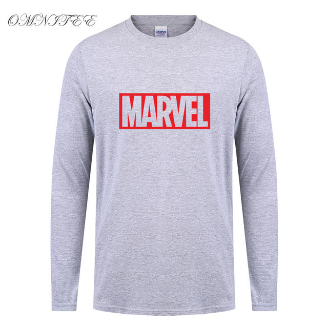 9f90a2ec New Marvel T Shirt Men Superhero Cool Print T Shirts O-neck Long Sleeve  Marvel