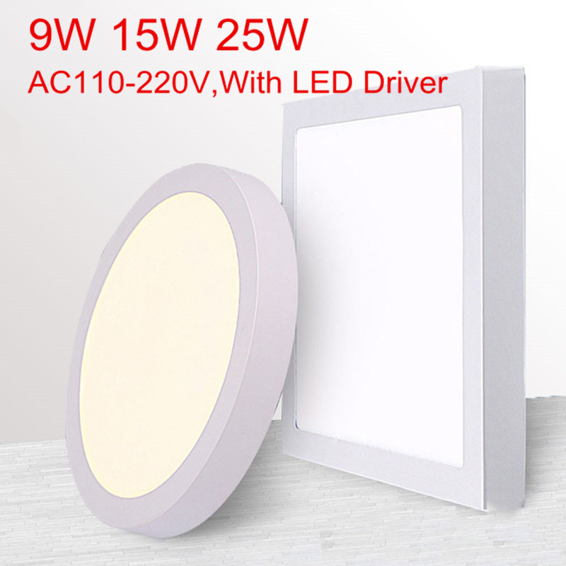 No Cut ceiling 9w 15w 25w Surface mounted led downlight Round Square panel light Spot Down lamp AC110V 220V  Driver