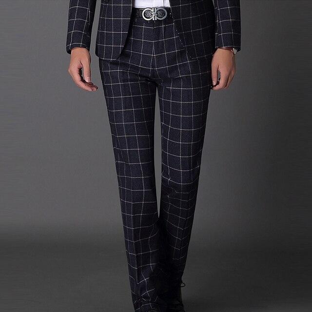 Fashion Men's Pants plus size 40 40 Male Business Plaid Pants Korean Unique Men's Patterned Dress Pants