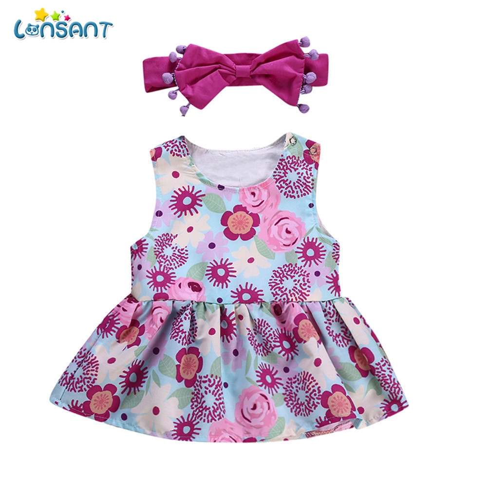 LONSANT Toddler Kids 2Pcs Baby Girls Infant Kids Floral Tops+Headband Clothes Casual Outfit Kid Girls Cloth