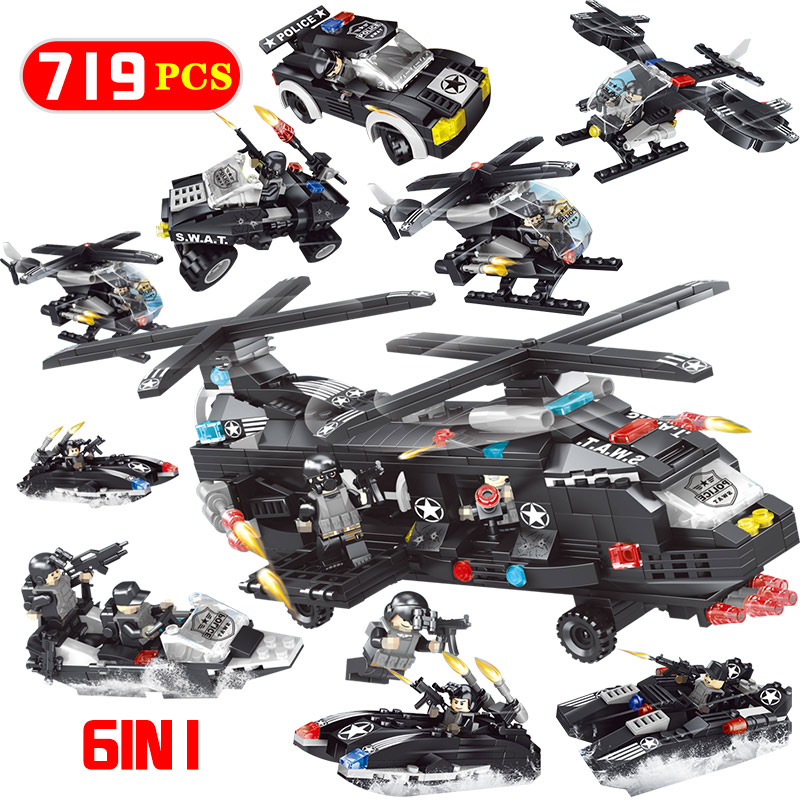 6 in 1 Military Ww2 Chinook Transport Helicopter Car Model Building Blocks Compatible Legoed Army City Police Figures Boys Toys6 in 1 Military Ww2 Chinook Transport Helicopter Car Model Building Blocks Compatible Legoed Army City Police Figures Boys Toys