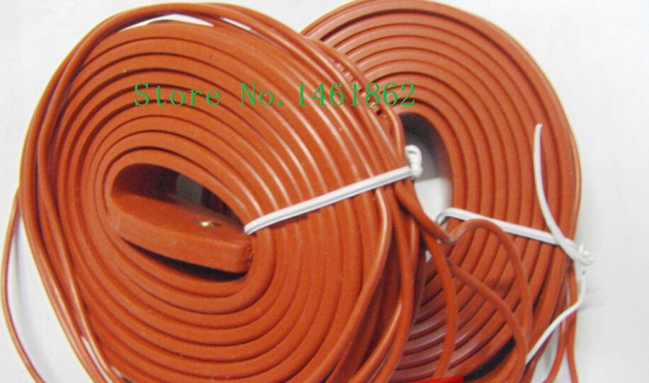 ФОТО 26mmx5m  400W 220V High quality Electric heating Silicone Heating Pipeline  tracing belt Silicone Rubber Pipe Heater waterproof