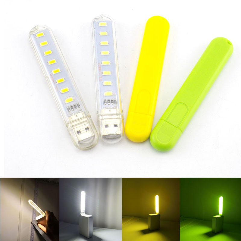 8 Led Lamp Power Bank Lighting Note Portable Laptop Night Light For Camping Reading PC Green Warm White Mini Computer