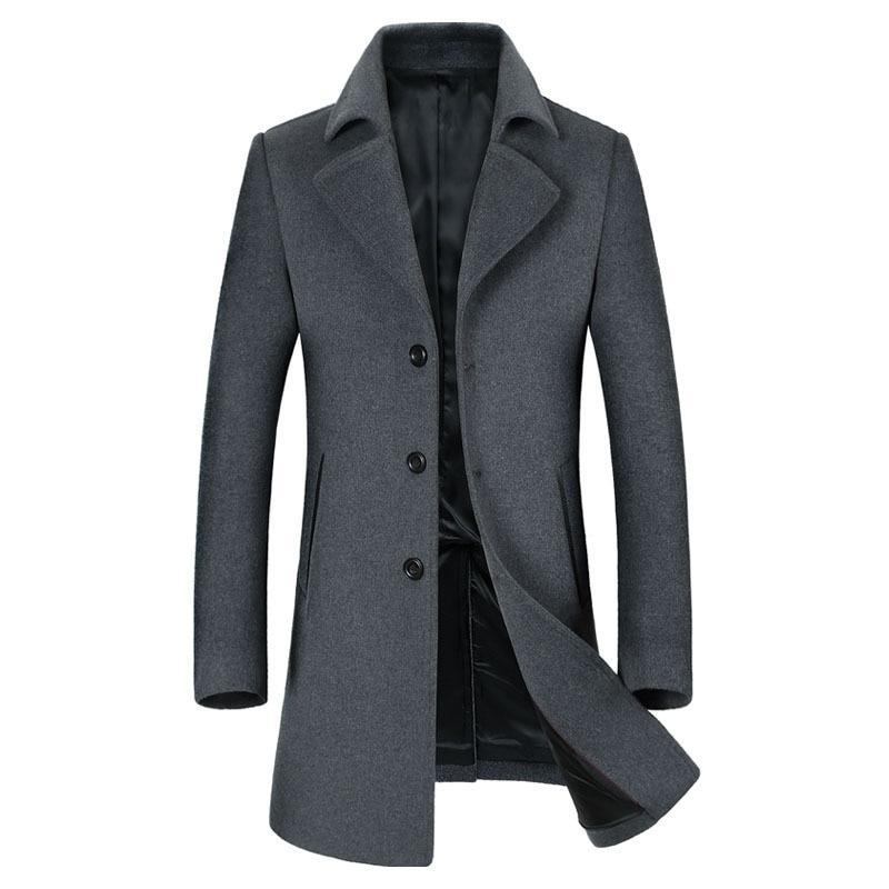 Casual Mens Jacket Wool Long   Trench   Coat Slim fit Windbreaker 2019 New Outwear Overoat Male R1686