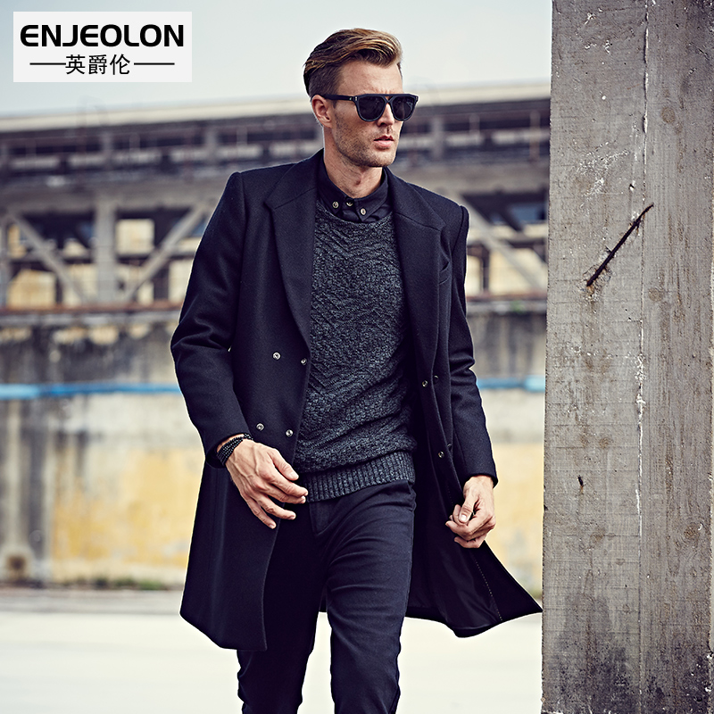Enjeolon brand Men's casual Long Wool Blends New Male Single Breasted woolen black coats outwear Windbreaker caot jacket WT0820