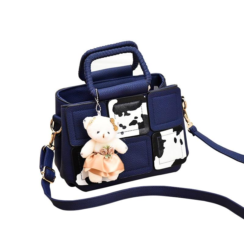 Fashion  Women Bag Patchwork Handbags Women PU  Leather Handbags Luxury Ladies Hand Bags Female Lovely Shoulder Bag