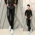 Os novos 2017 homens calças de couro trajes boate Coreano couro Fino lápis calça casual