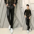 The new 2017 men nightclub costumes leather pants Korean Slim leather pencil casual pants