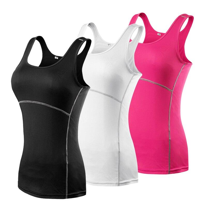 2018 Femmes de Sport De Compression De Yoga Sport Chemises Gilet Collants Couche De Base Gym Yoga Fonctionnement Gilet Sans Manche Top S-XXL