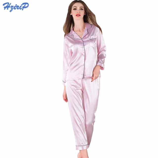 Hzirip 2017 Pyjamas Women Robe Faux Silk Pajamas Sets Full Sleeve Sleepwear  2 Pieces Pants Set Silk Homewear Pijamas Loungewear 6c7f56430