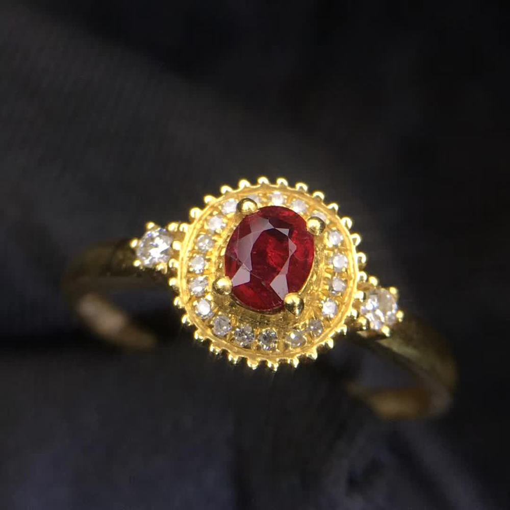 gemstone jewelry factory wholesale classic luxury 18k yellow gold real diamond natural Ruby gold ring for women wedding 2