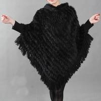 New Real Genuine Rabbit Fur Shawl Poncho Women Natural Rabbit fur coat winter fur Long Scarf Free shipping TBFP217