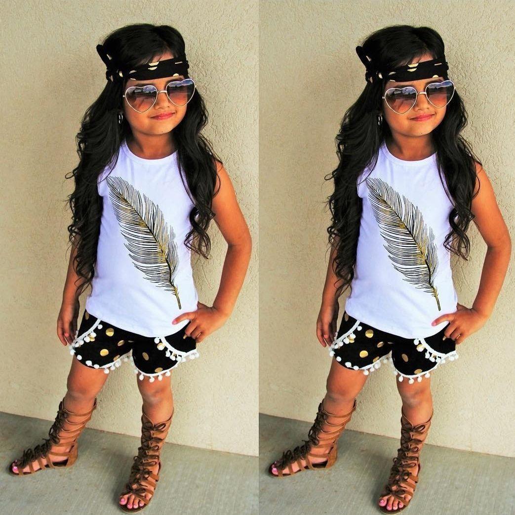 Summer Toddler Baby Girls T Shirt Vest Tops Pants Shorts Kids Clothes Outfits Set Feather 3 PCS Set Tank Top Shorts Headband