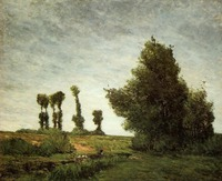 High quality Oil painting Canvas Reproductions Landscape with Poplars (1875) by Paul Gauguin hand painted