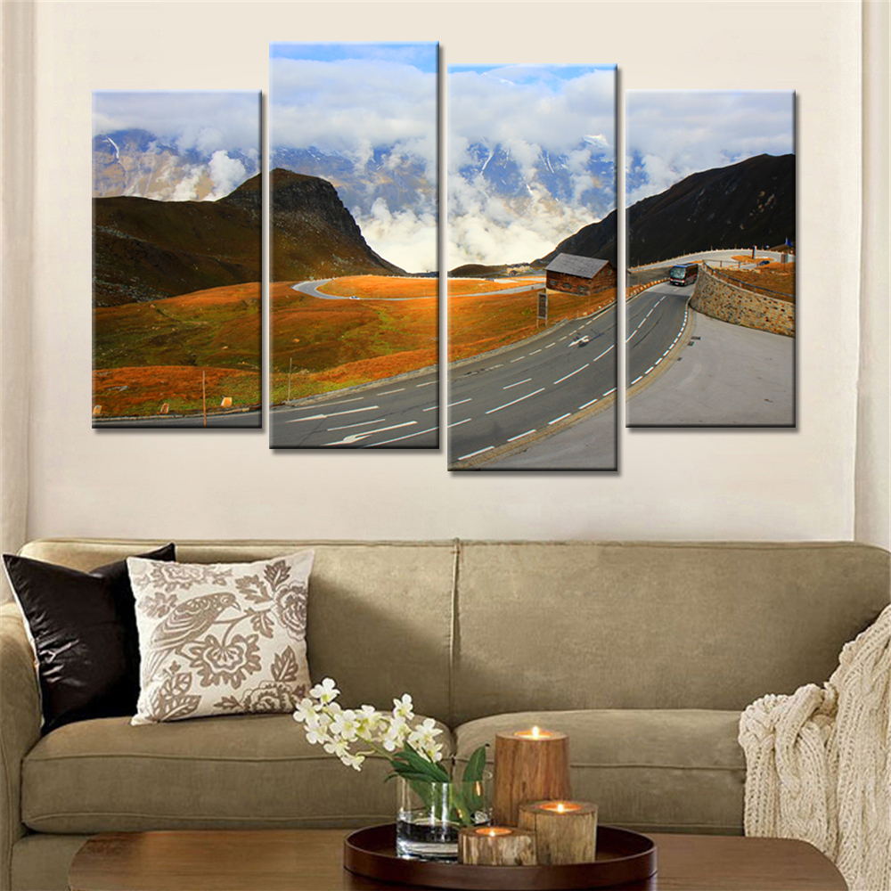 Promotion 4 pieces unframed painting landscape wall art - Landscape paintings for living room ...