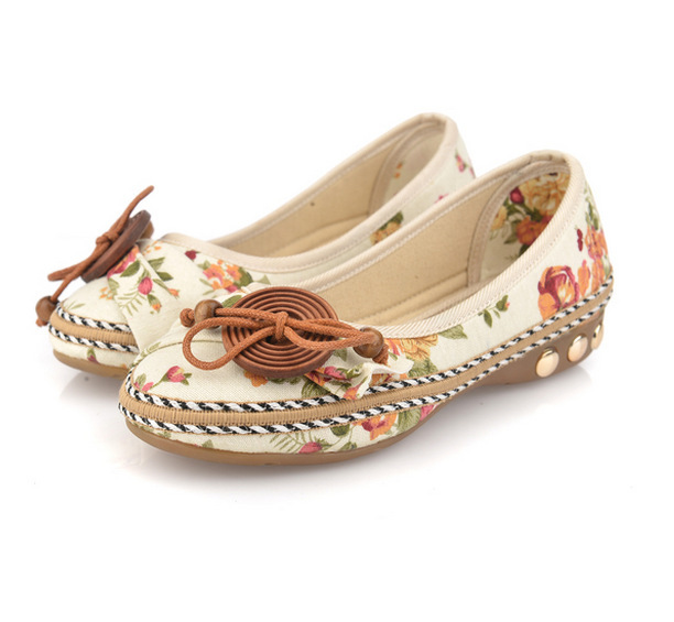2017 Plus size40 Casual Flat Shoes Women Flats Handmade Beaded Ankle Straps Loafers Zapatos Mujer Retro