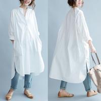 Maternity Women White Cotton Round Neck Open Button Long Shirt Dress Autumn Loose Pregnant Coat Womens Clothing Pregnant