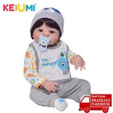 KEIUMI красивый Reborn Baby Doll 23 дюймов полный силикон винил Reborn Младенцы мальчик водонепроницаемый для продажи рождественские подарки для детей