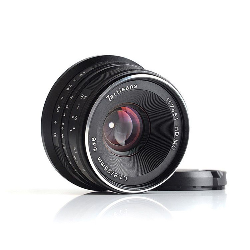 Objectif principal 7 artisans 25mm/F1.8 pour tous les supports Sony E/monture Canon EOS M série unique/montage Fuji FX/monture Olympus M43-in Objectifs pour appareil photo from Electronique    2