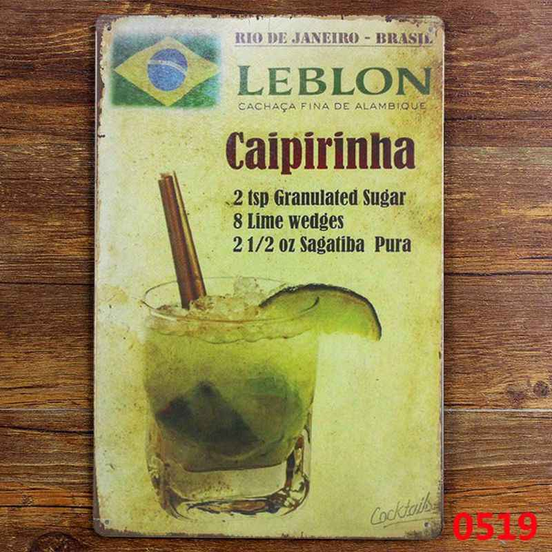 Caipirinha cocktail METALEN TIN TEKEN Vintage Muur Pub Bar Metalen Decor, 20x30cm