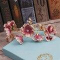 Невеста свадебные украшения ручной работы розовый шелк волос золотой бабочка аксессуары Корейский свадебное платье головные уборы 1346