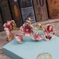 The bride wedding jewelry handmade pink silk hair golden butterfly accessories Korean wedding dress headgear 1346