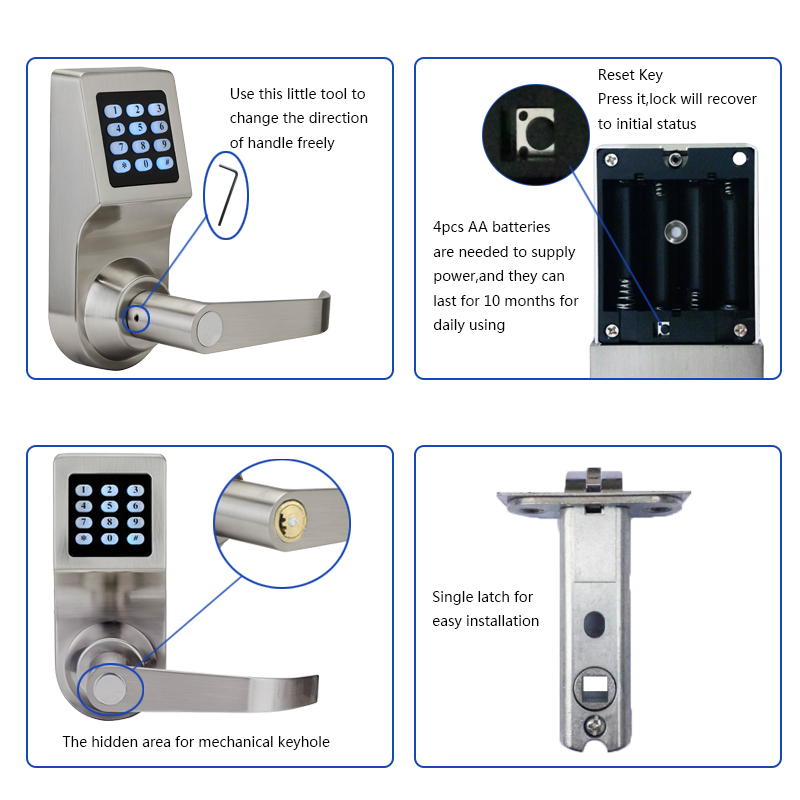 Image 4 - LACHCO Keyless Digital Lock Keypad Password Code Spring Bolt Access Electronic Door Locks L16086BS-in Electric Lock from Security & Protection