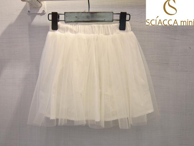 Sciaccamini 2016 Nueva llegada vestido de bola del tutú de tul de malla bordado floral blanco de verano chicas lindas faldas 3 4 5 6 7 8 9 10 11 12Y