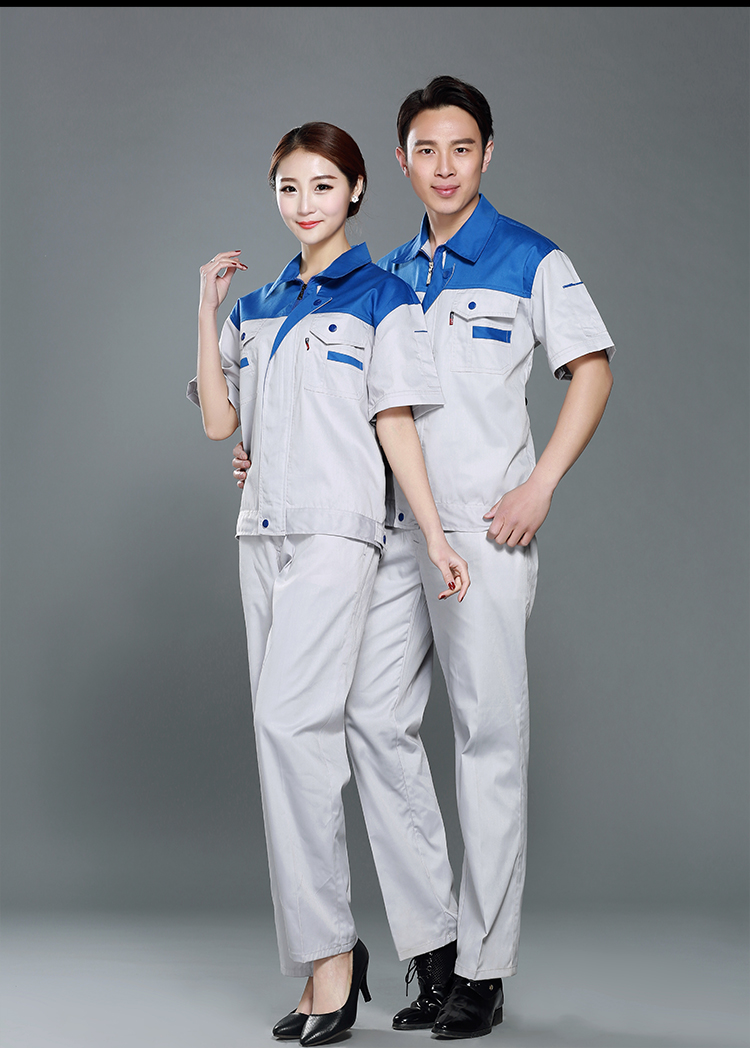 Summer short sleeve factory labor work clothing, jacket and pants suit, house work apparel. ...