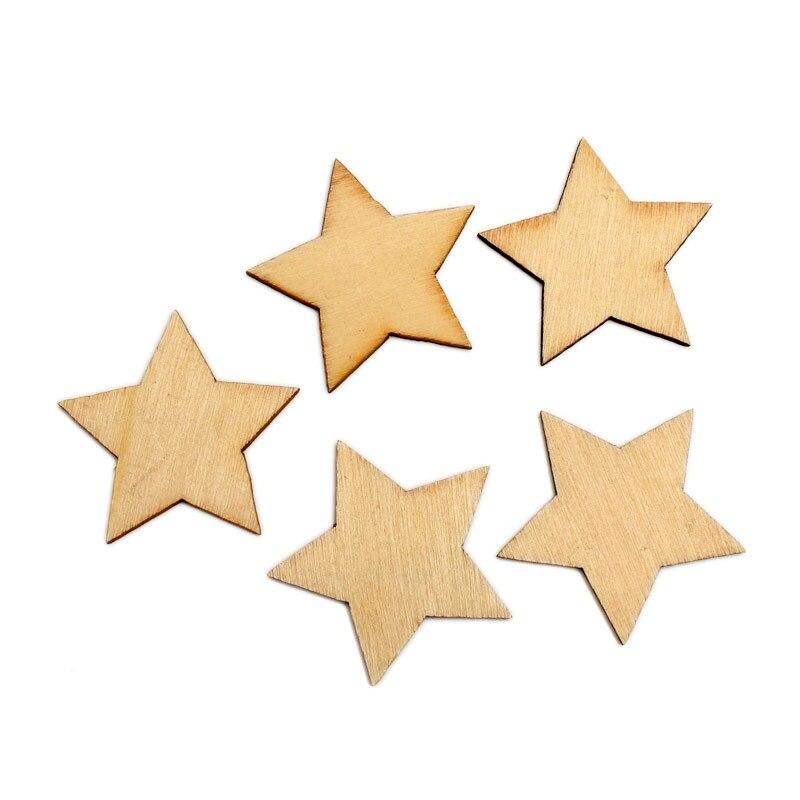 Decoração para casamento, 100 pçs 35mm inacabado estrela madeira fatias enfeites mdf decoração de madeira reto para scrapbooking