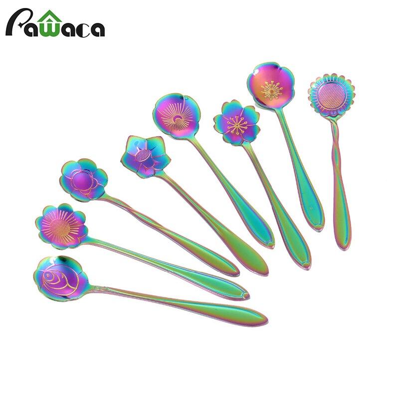 8Pcs/lot Creative Flower Shape Tea Coffee Spoon Stainless Steel Sugar Ice Cream Spoon Mixing Spoon Stirring Teaspoons Tableware