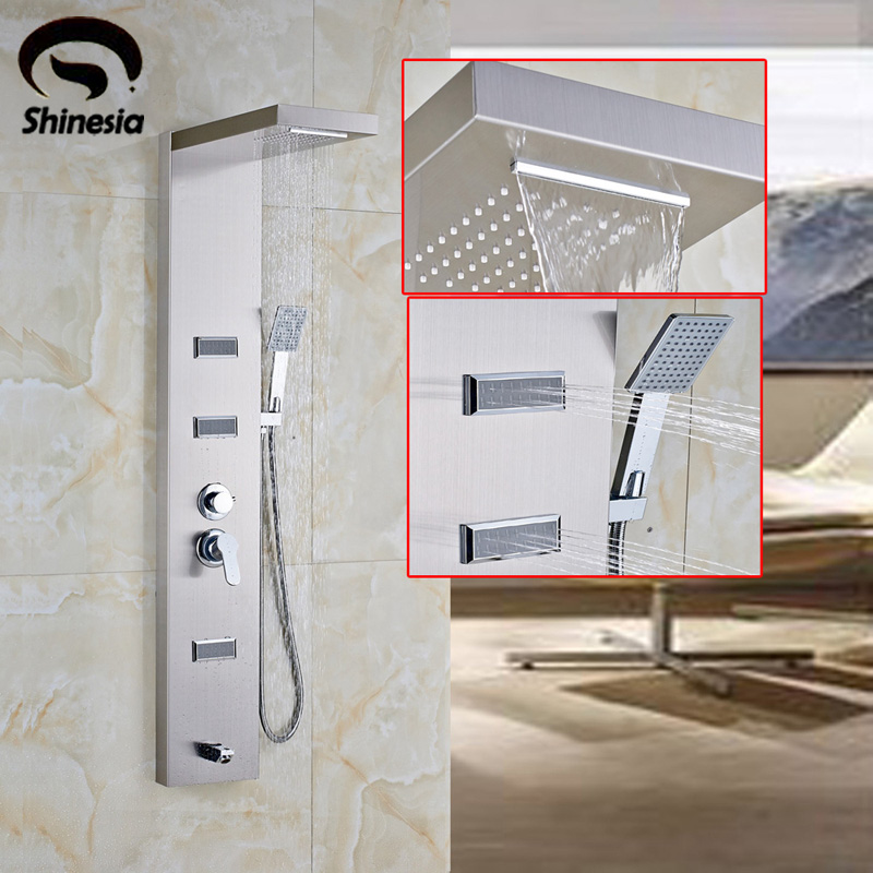Brushed Nickel Stainless Steel Bathroom Shower Faucet Shower Panel Column Massage Jet Tub Tap with Hand Shower Spray