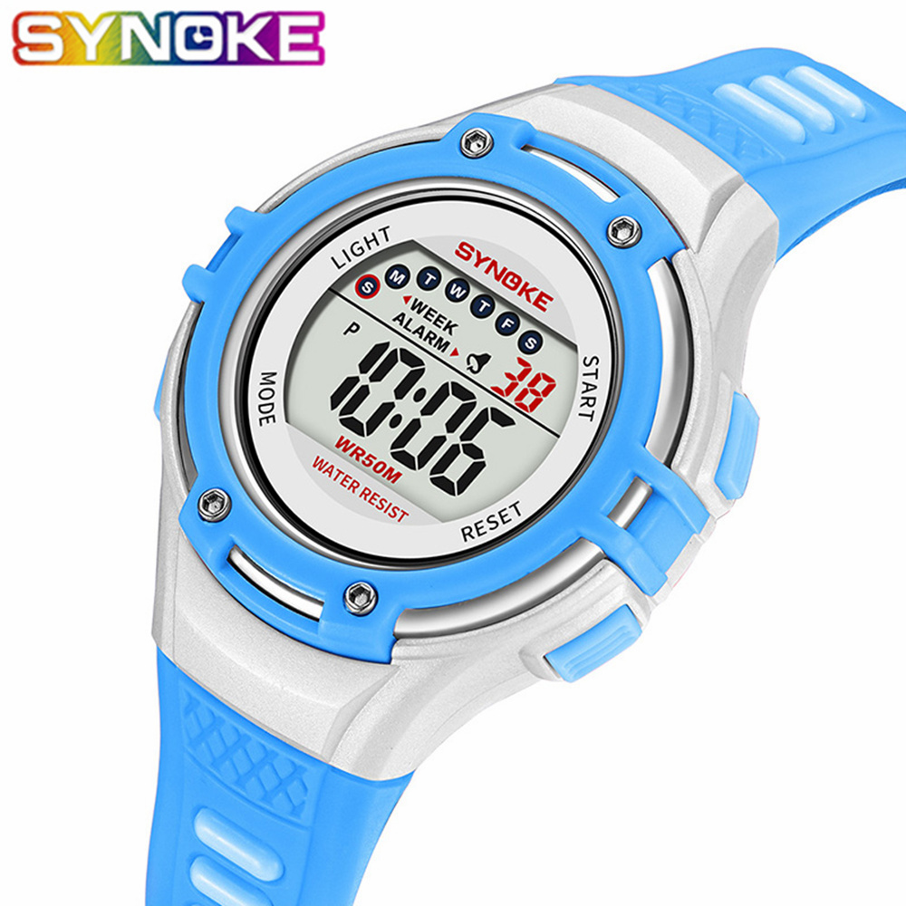 SYNOKE Children Watches LED Light Digital Watch Students Waterproof Male Clock Outdoor Sports Wristwatches For Kids Boys Girls