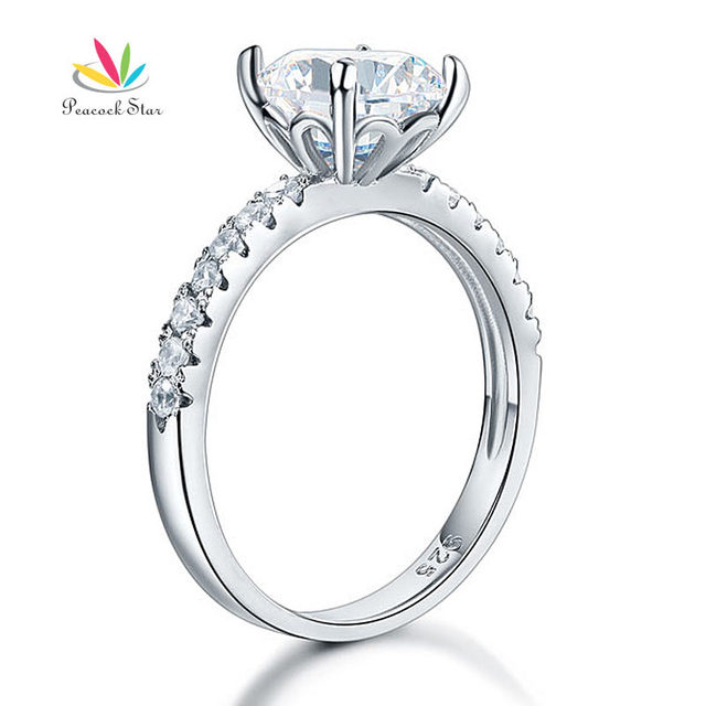 Peacock Star 925 Sterling Silver Bridal Anniversary Engagement Ring 2 Carat Created Diamond Jewelry CFR8212