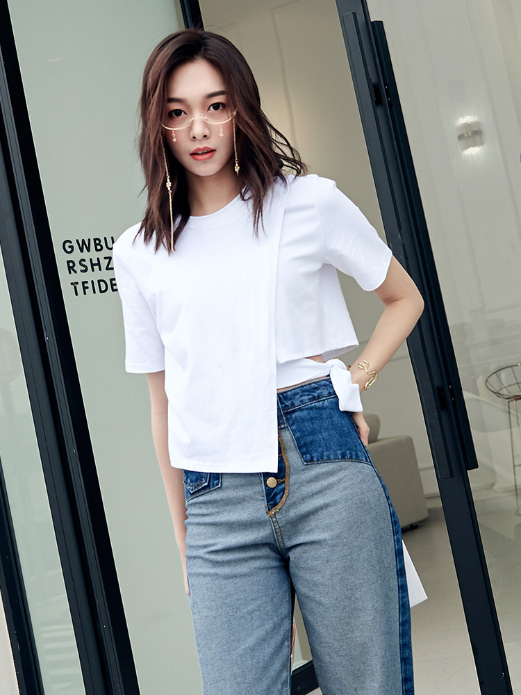 Women T shirts Summer Short Sleeve Crop Tops New Women Tees Cotton Shirt Round Neck 2019 Female Clothes GGZ19032 in T Shirts from Women 39 s Clothing