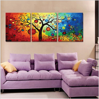 Triptych Paintings Three Picture Combination Vintage Home Decor Rich Tree Painting By Numbers Oil Painting On