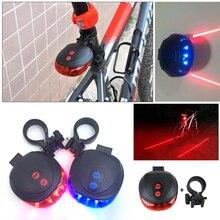 1pcs Bicycle LED Light 2 Laser 5 LEDs Night Light Mountain Bike Tail Light Taillight for MTB Safety Warning Rear Lamp Bike Light