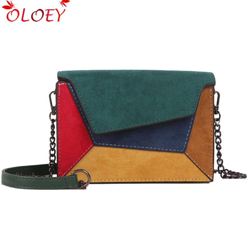 2019 Fashion Quality Leather Patchwork Women Messenger Bag Female Chain Strap Shoulder Bag Small Criss-Cross Ladies' Flap Bag(China)
