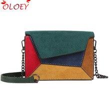 Nuevo Otoño Invierno mujer Bolso con solapa pequeña nueva tendencia mate PU parche bolso de hombro con paneles de color de moda cuadrado pequeño bolsa